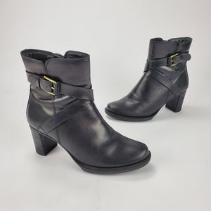 (Ecco] Black Leather Heeled Ankle Boots Size 8-8.5